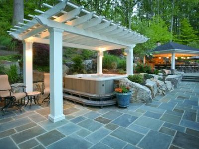Backyard Pergola for Hot Tub